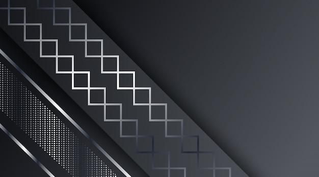 Abstrait noir cadre métallique argenté