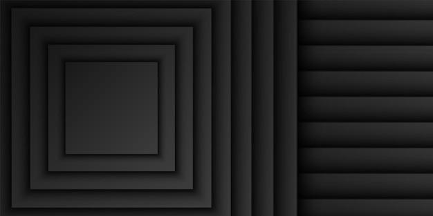 Abstrait noir carré chevauchement couche fond forme carrée motif design minimal sombre