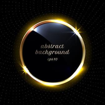 Abstrait noir cercles brillants bordure dorée cadre rond