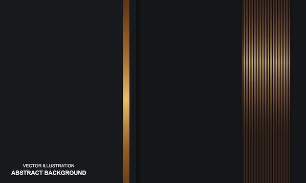 Abstrait noir dop avec luxe de lignes dorées