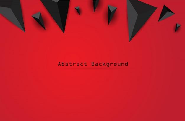 Abstrait noir géométrique 3d. illustration vectorielle sur fond rouge