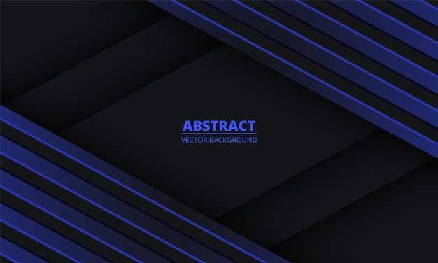 Abstrait noir avec des lignes diagonales bleues sur un espace vide.