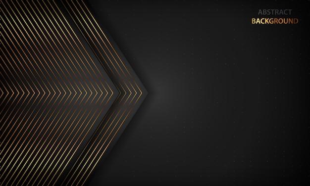 Abstrait noir avec des lignes dorées. concept de luxe moderne.