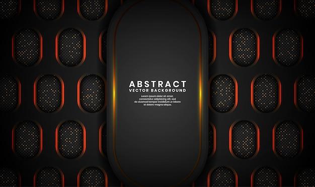 Abstrait noir de luxe avec ovale métallique, couche de chevauchement sur un espace sombre avec des lignes dorées et des points scintillants