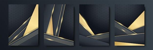 Abstrait noir et or. l'arrière-plan en or noir chevauche la dimension géométrique abstraite moderne. fond d'or noir marine élégant avec couche de chevauchement. costume pour les affaires et les entreprises