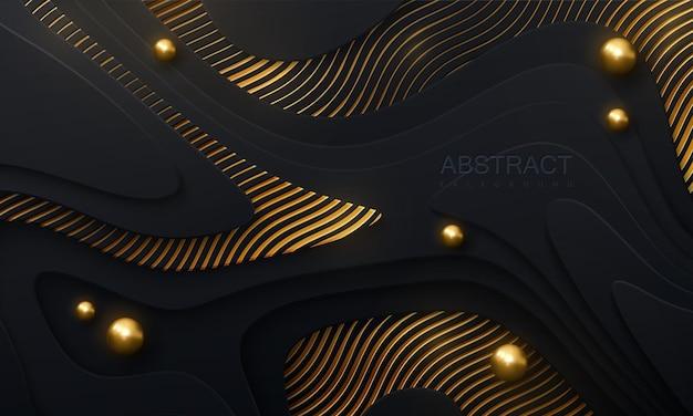 Abstrait noir papercut avec des couches ondulées et des paillettes dorées