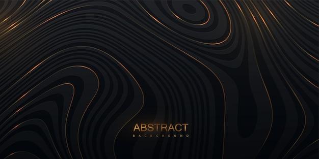 Abstrait noir avec relief de topographie ondulée
