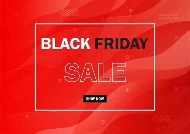 Abstrait noir vendredi vente promotion bannière concept sur fond rouge.