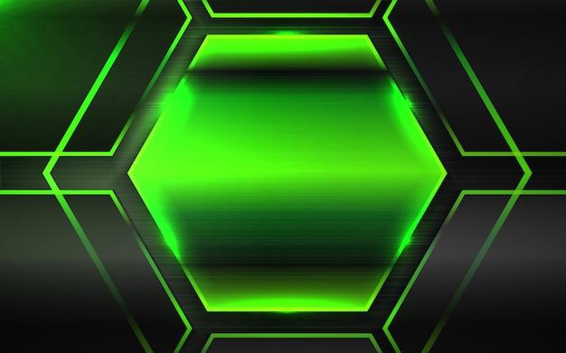 Abstrait noir et vert métallique hexagone formes fond