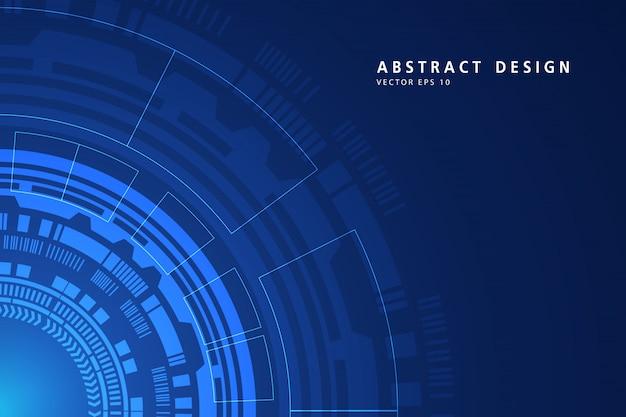 Abstrait numérique sur fond bleu de technologie circulaire. ligne de réseau maillé 3d, structure sphère, haute vitesse et structure.