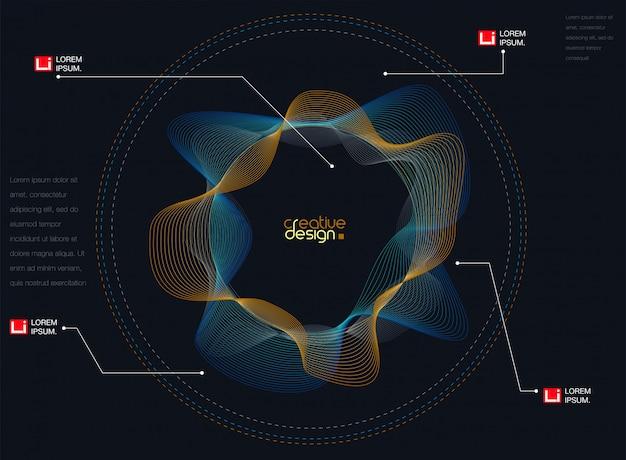 Abstrait avec des ondes sonores de particules dynamiques