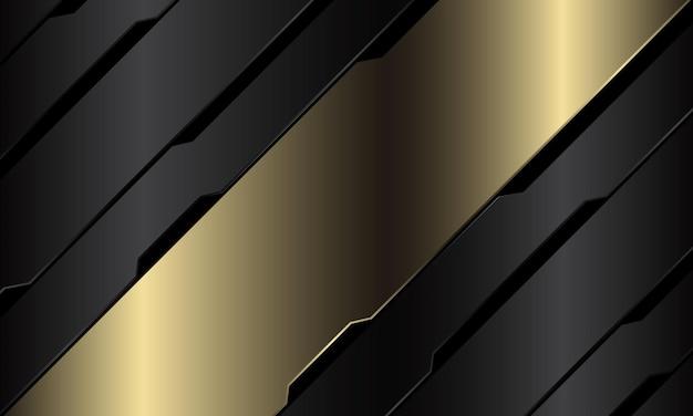 Abstrait or bannière gris métallique circuit noir cyber slash géométrique design fond de technologie futuriste luxe moderne
