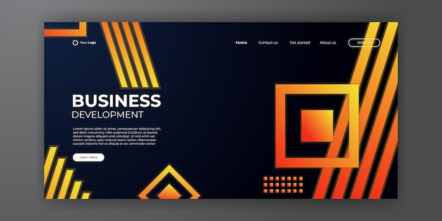 Abstrait de la page de destination des affaires modernes. conception de modèle d'arrière-plan web avec une forme moderne et un concept technologique simple. illustration vectorielle