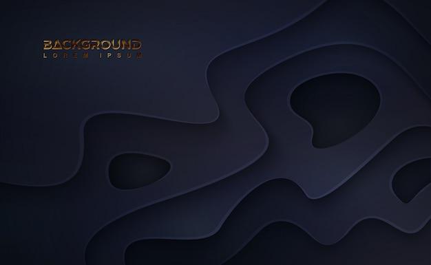 Abstrait papercut noir avec des couches ondulées.