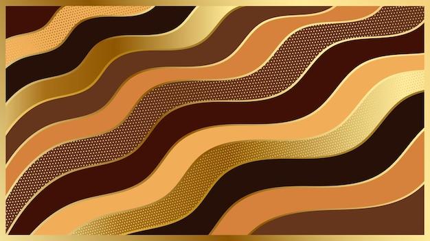 Abstrait de papier brun et or moderne avec texture en couches. illustration vectorielle.