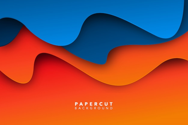 Abstrait papier orange bleu coupé fond