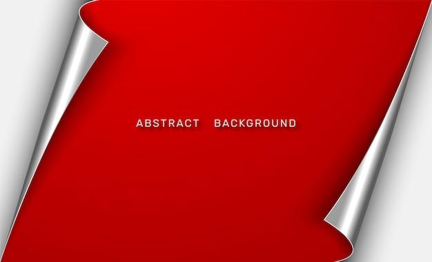 Abstrait de papier rouge avec des bords recourbés.