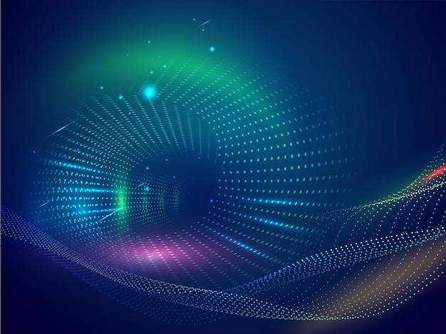 Abstrait de particules d'onde numérique avec effet d'éclairage