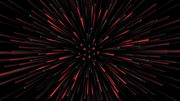 Abstrait avec des particules en rouge et noir s'étendant à grande vitesse.