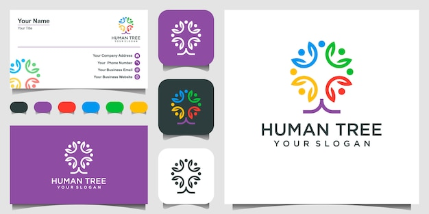 Abstrait people tree logo design inspiration. et conception de cartes de visite