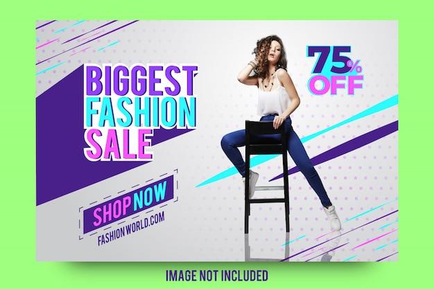 Abstrait plus grand design de modèle de bannière de vente mode