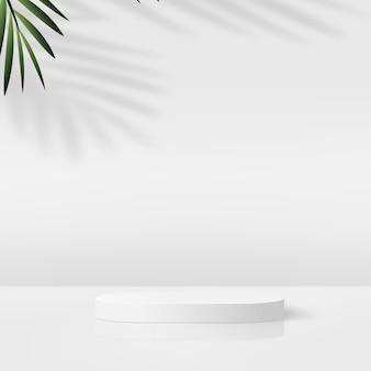 Abstrait avec podium 3d géométrique de couleur blanche et palmier