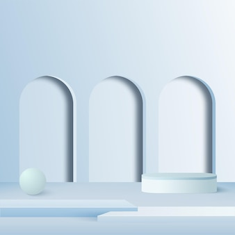 Abstrait avec podium 3d géométrique de couleur bleue.