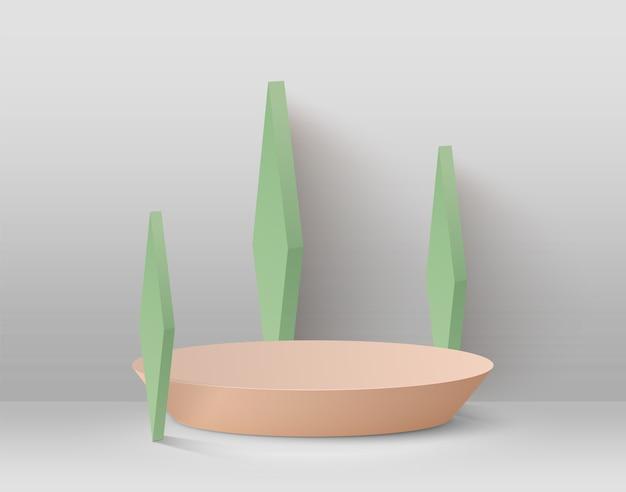 Abstrait avec podium et formes géométriques vertes sur fond clair.