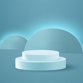 Abstrait. Podium Géométrique 3d Avec Scène Bleue. Vecteur Vecteur Premium