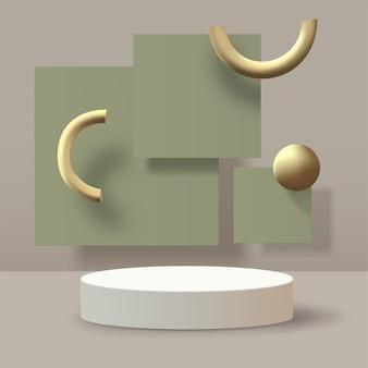 Abstrait. Podium Géométrique 3d Avec Scène Verte Et Or. Vecteur Vecteur Premium