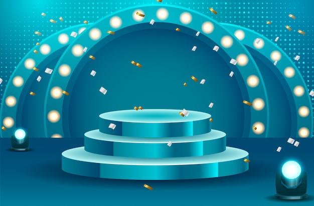 Abstrait podium rond avec tapis blanc éclairé par des projecteurs. concept de cérémonie de remise des prix. étape. illustration vectorielle