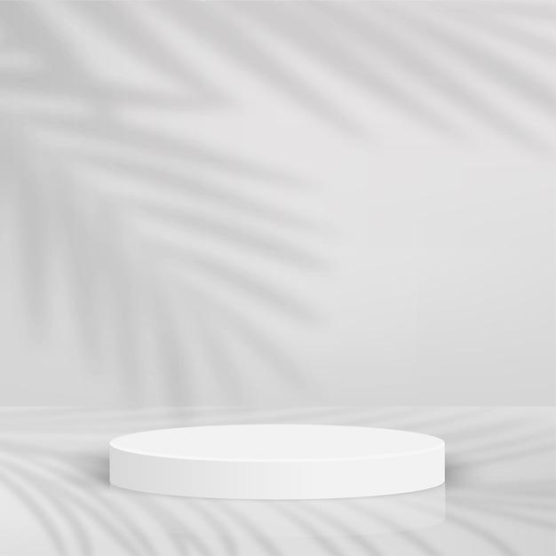 Abstrait avec des podiums 3d géométriques de couleur blanche