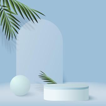 Abstrait avec des podiums 3d géométriques de couleur bleue.