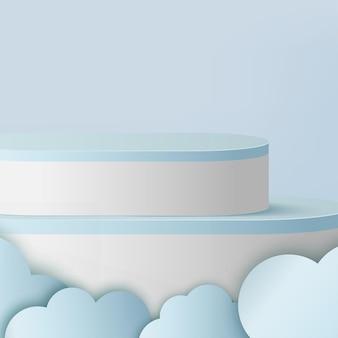 Abstrait avec des podiums 3d géométriques de couleur bleue