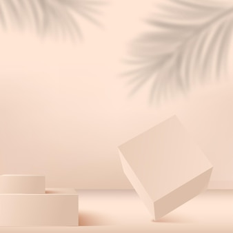 Abstrait avec podiums 3d géométriques de couleur crème. illustration.