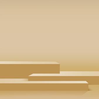 Abstrait avec podiums 3d géométriques de couleur jaune