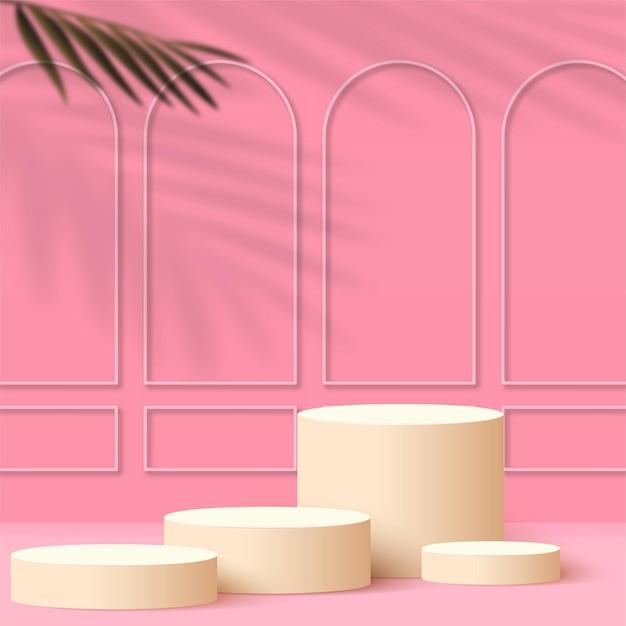 Abstrait avec des podiums 3d géométriques de couleur rose