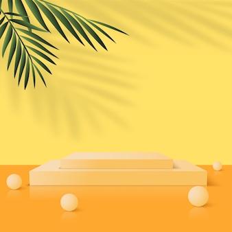 Abstrait avec podiums 3d géométriques jaunes