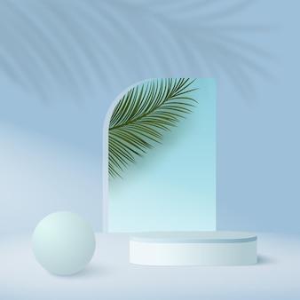 Abstrait avec podiums de ciel géométrique de couleur bleue.