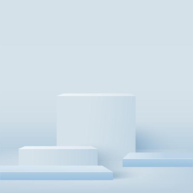 Abstrait avec des podiums géométriques carrés bleus.