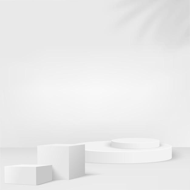 Abstrait avec des podiums géométriques de couleur blanche