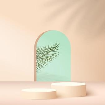 Abstrait avec des podiums géométriques de couleur crème.
