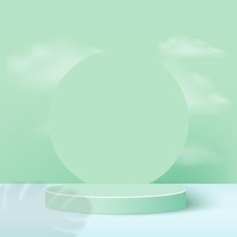 Abstrait avec des podiums géométriques de couleur verte.
