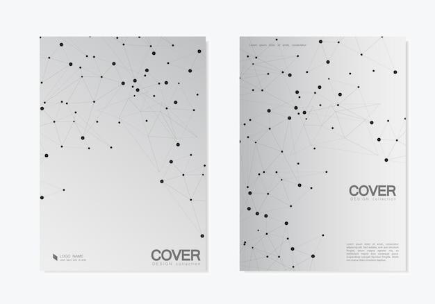Abstrait polygonal avec des lignes et des points connectés. conception de couverture de modèles modernes