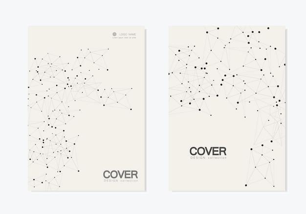 Abstrait polygonal avec des lignes et des points connectés. couverture de brochure de modèles vectoriels modernes