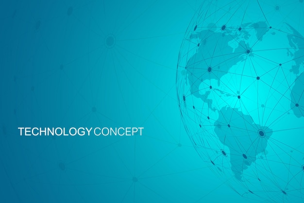 Abstrait polygonale avec concept technologique de lignes et de points connectés