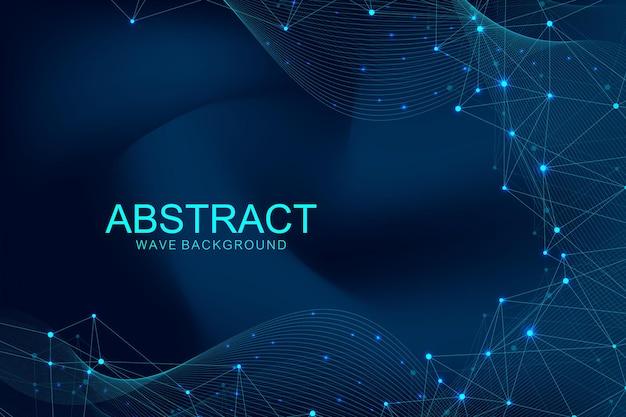 Abstrait polygonale avec des lignes et des points connectés. flux de vague. structure moléculaire et communication. fond de plexus graphique. science, médecine, concept technologique.