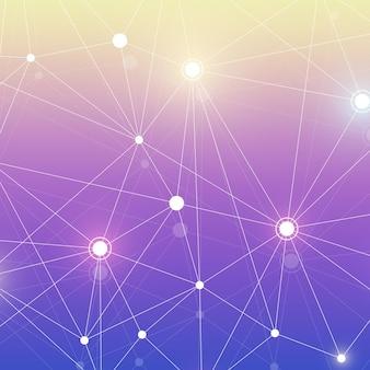 Abstrait polygonale avec des lignes et des points connectés. motif géométrique minimaliste. structure moléculaire et communication. fond de plexus graphique. science, médecine, concept technologique