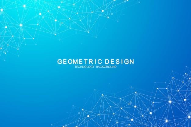 Abstrait polygonale avec des lignes et des points connectés. structure du plexus et arrière-plan de la communication. fond de plexus graphique. science, médecine, concept technologique.