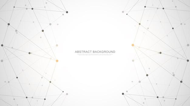 Abstrait polygonale avec points et lignes de connexion. connexion au réseau mondial, technologie numérique et concept de communication.